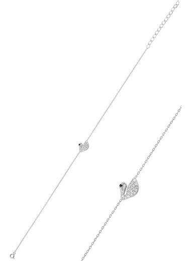 Söğütlü Silver Gümüş Rodyumlu Zirkon Taşlı Kuğu Bilekli Gümüş